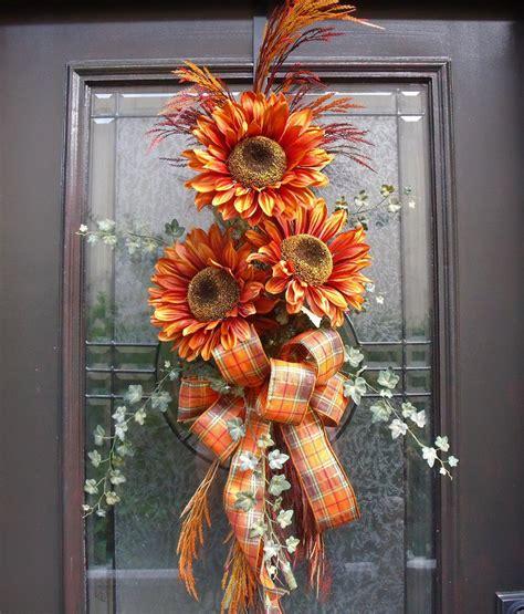Swag Wreaths Front Door Fall Wreath Orange Sunflower Swag Front Door Wreath Fall Wreath Ideas Be Cool