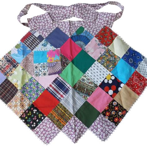 Patchwork Apron - patchwork apron with rickrack vintage from