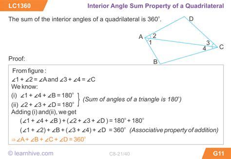 Quadrilateral Sum Of Interior Angles by Learnhive Icse Grade 8 Mathematics Quadrilaterals