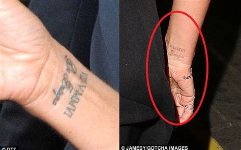 victoria beckham wrist tattoo meaning beckham removing all tributes to wedding