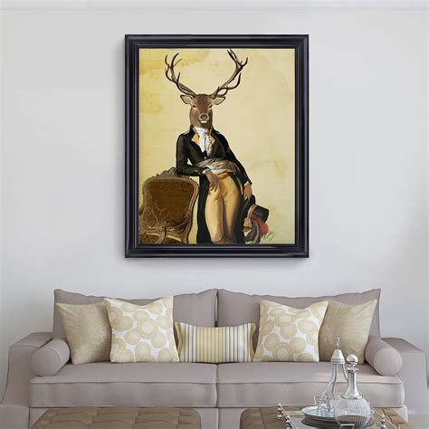 deer print deer and chair by fabfunky home decor