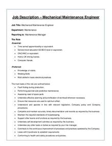 Mechanical Technician Description by Sle Mechanical Engineer Description 8 Exles In Word Pdf