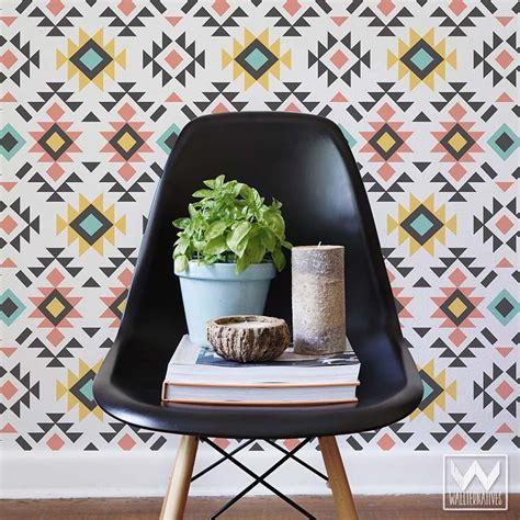 colorful removable wallpaper tribal aztec print pattern removable wallpaper diy decor