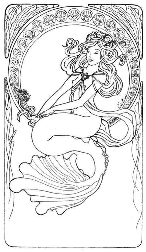 mermaids grayscale coloring book coloring books for adults books alphonse mucha coloring pages images crafty ideas