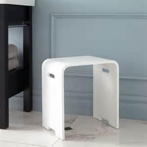 Modern Vanity Stool For Bathroom Epsilon Resin Bath Stool White Matte Finish Modern Vanity Stools And Benches
