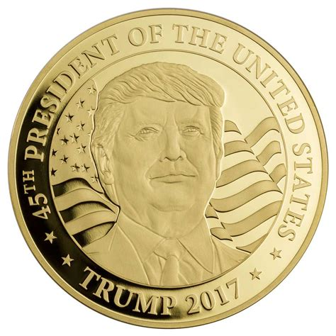 donald trump gold coin the new larger than life us president appears on his first