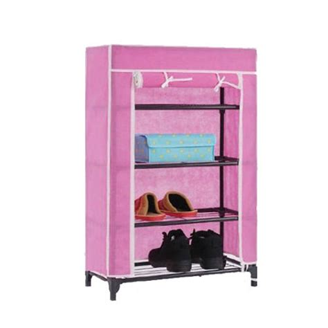 New Pink Multifunction Wardrobe Cloth Rack With Cover Lemari 4tier canvas cover shoes storage shelf rack cupboard shoe organiser stand colour ebay