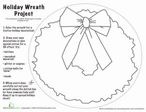 Christmas Wreath Craft Worksheet Education Com Wreath Coloring Page Shapes Worksheet