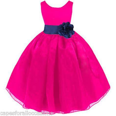 Blue And Flower Flowers S M L Dress 43431 fuchsia pink navy blue wedding organza flower dress