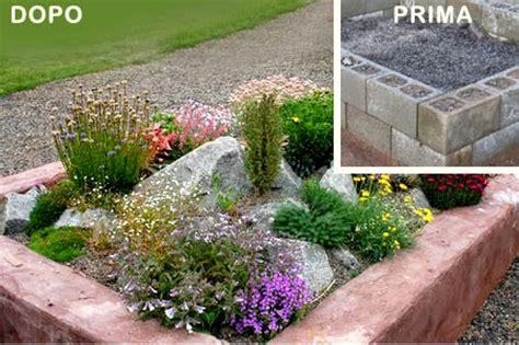 creare un aiuola in giardino idee giardino fai da te aiuola con sassi o blocchi