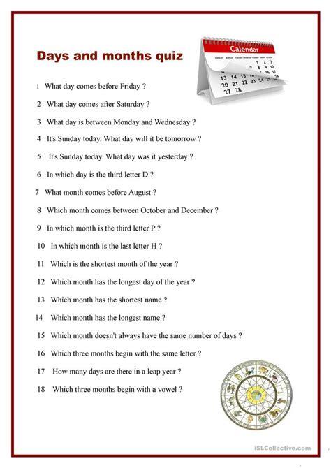 printable english quiz worksheet days and months quiz worksheet free esl printable