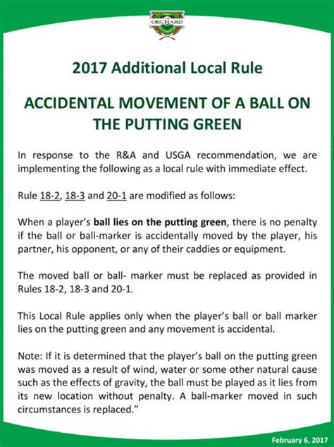 2017 additional to local rule the orchard golf country