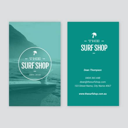 surf shop business card