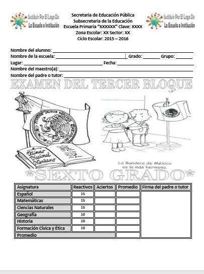 examen bloque 3 quinto grado 2016 examen del sexto grado para el tercer bloque del ciclo