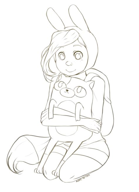 Fionna And Cake Coloring Pages   fionna and cake lineart by nani mi on deviantart