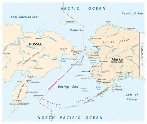 mapa del estrecho de bering mapa del estrecho de bering entre rusia y alaska archivo