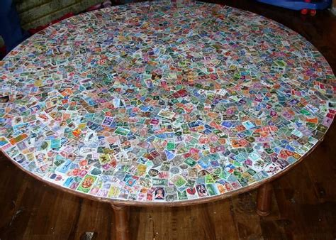 Decoupage Glass Table Top - postage st decoupage table decorate