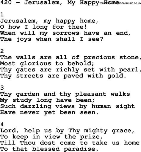 adventist hymnal song 420 jerusalem my happy home with