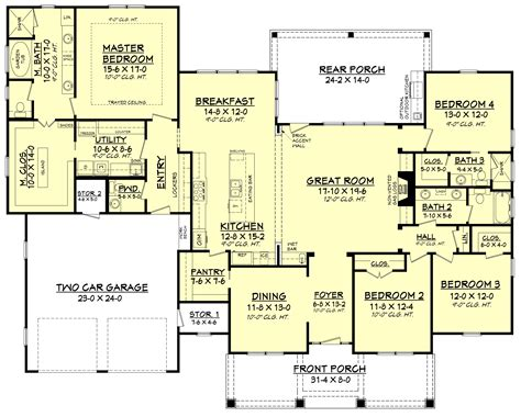 House Perspective With Floor Plan by 4 Bedrm 2759 Sq Ft Country House Plan 142 1181