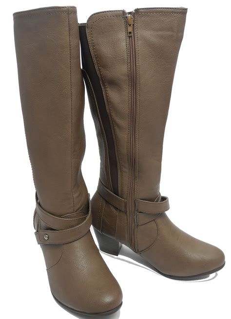 womens leather look knee length elasticated wide