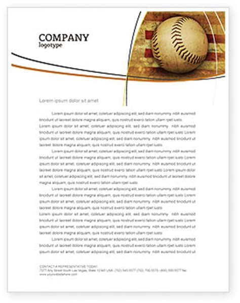 American Baseball Letterhead Template Layout For Microsoft Word Adobe Illustrator And Other Baseball Letterhead