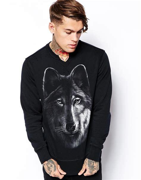 Hoodie Sweater Wolfs Premium lyst diesel crew sweatshirt sudko wolf print in black