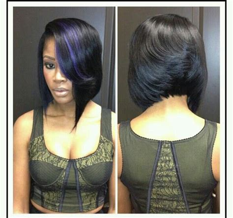 black women feathered bob weave precison mid bob feathered back asymmetric front purple