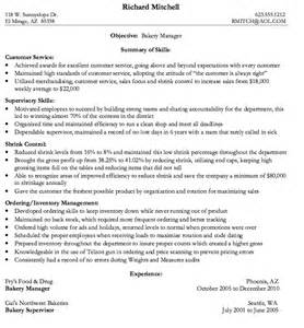 bakery manager resume sle resumes design