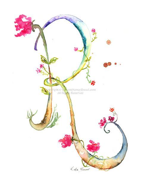monogramma lettere lettera r acquerello monogramma fiore lettering