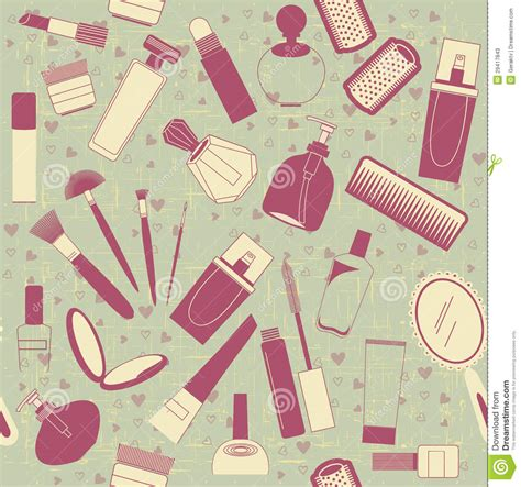 makeup pattern wallpaper cosmetics seamless pattern vintage background on o stock