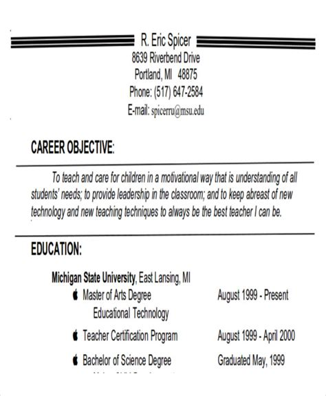 career objectives for teachers 7 career objectives sle exles in word pdf
