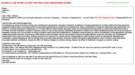 appointment letter format for nurses prn offer letters
