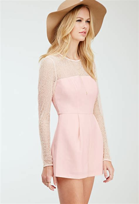 Nexx 38 D Romper Pink forever 21 pleated lace paneled romper in pink blush lyst