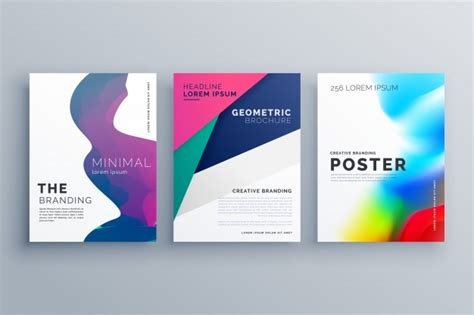 template brochure minimal colorful minimal business brochure templates vector free