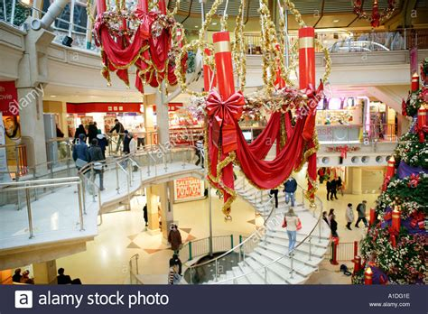 christmas decorations shopping mall uk stock photo
