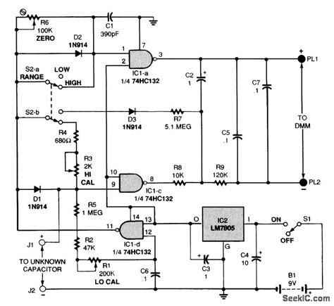 capacitance meter schematic diagram dvm capacitance meter adapter measuring and test circuit circuit diagram seekic