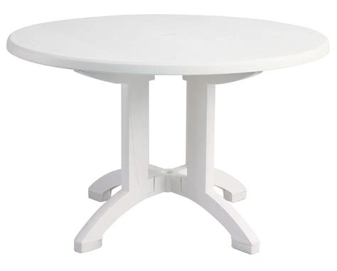 White Resin Patio Table 48 Quot Decorative White Woodgrain Outdoor Resin Grosfillex Aquaba Restaurant Pedestal Table