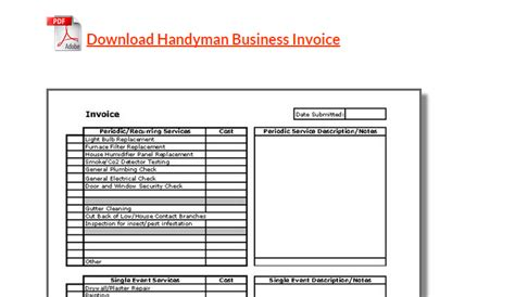 5 handyman invoice template af templates