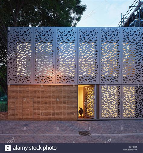 Front Elevation For House front elevation of entrance facade with metal screen at