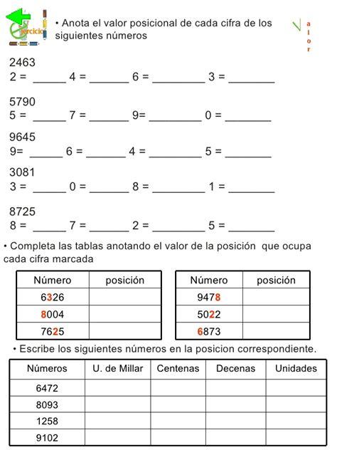 ejercicios de valor posicional para imprimir 3 176 grado