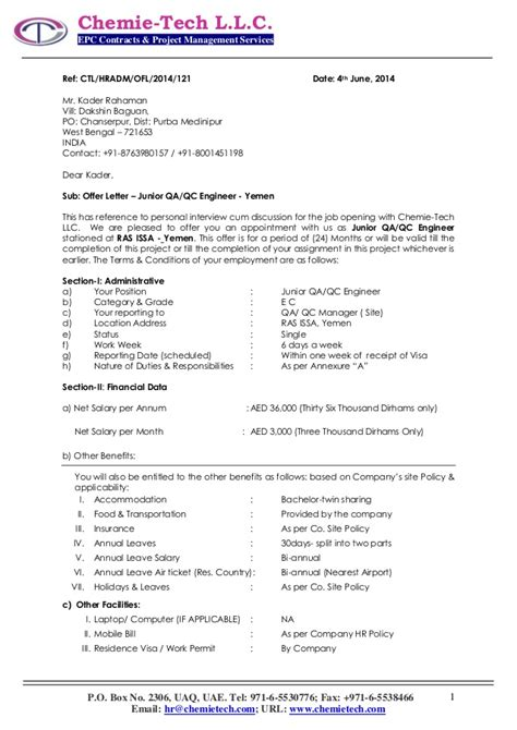 Offer Letter Format Qatar 121 Offer Letter Kader Rahman Chemie Tech