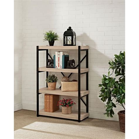 sauder barrister lane bookcase sauder barrister lane salt oak open bookcase 414726 the