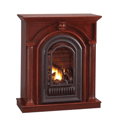 florence mid height corner mantel with arched ventless fireplace propane