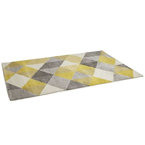 tapis jaune et gris 3583 tapis motif losange