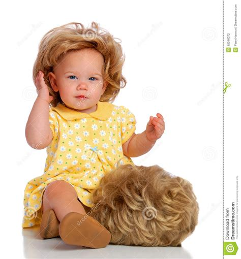 Wig Baby baby and wig stock photography image 15040372