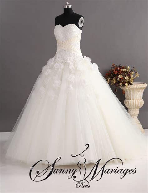 Robe Tulle Mariage - robe de mariee princesse en tulle et bustier dentelle