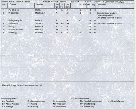 everyday moments of our life high school report card