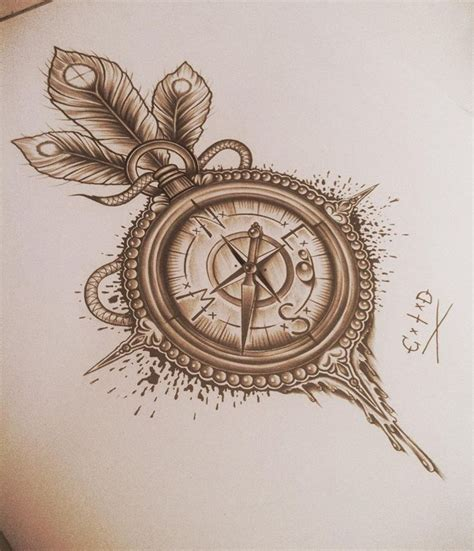 compass tattoo with birds 1