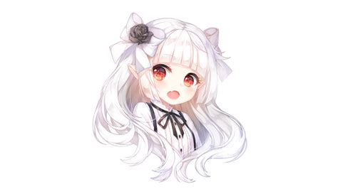 anime girl with white hair and red eyes download 1706x960 anime girl chibi white hair elf ears