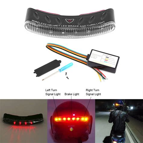 safety lights and signals 12v wireless motorcycle helmet rear safety light led brake